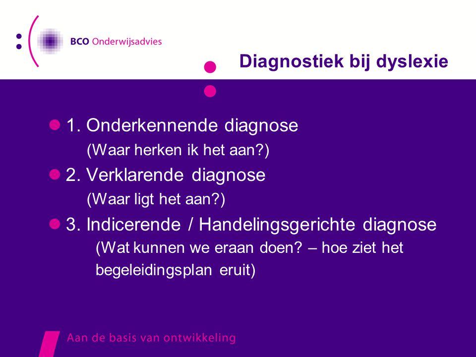 Diagnostiek bij dyslexie  1. Onderkennende diagnose (Waar herken ik het aan?)  2. Verklarende diagnose (Waar ligt het aan?)  3. Indicerende / Hande