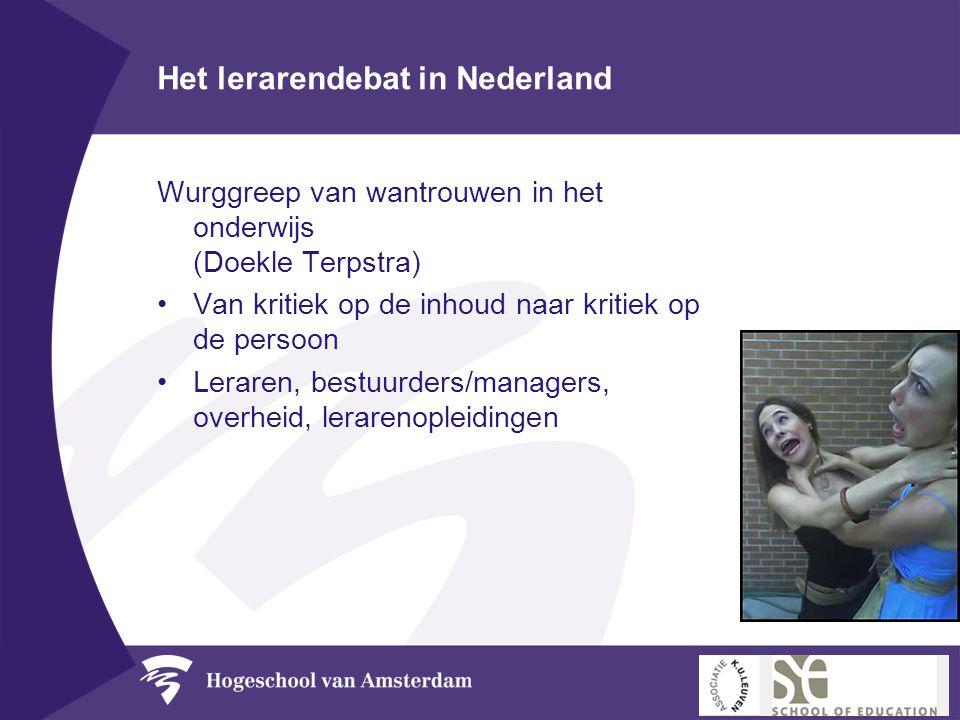 Het lerarendebat in Nederland Wurggreep van wantrouwen in het onderwijs (Doekle Terpstra) •Van kritiek op de inhoud naar kritiek op de persoon •Lerare