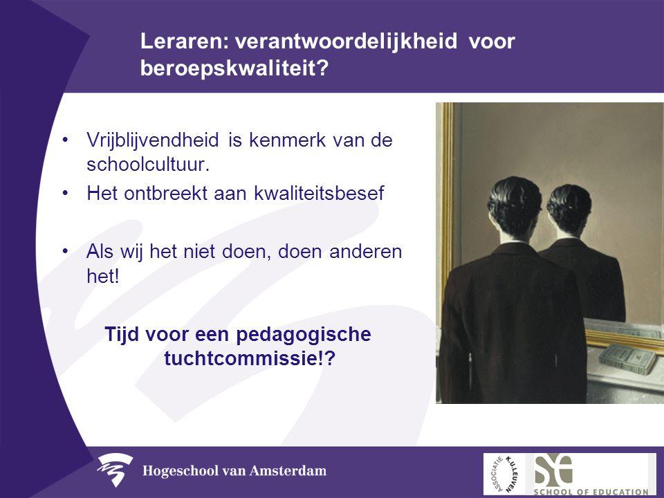 Leraren: verantwoordelijkheid voor beroepskwaliteit? •Vrijblijvendheid is kenmerk van de schoolcultuur. •Het ontbreekt aan kwaliteitsbesef •Als wij he