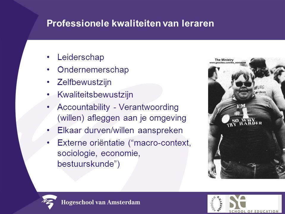 Professionele kwaliteiten van leraren •Leiderschap •Ondernemerschap •Zelfbewustzijn •Kwaliteitsbewustzijn •Accountability - Verantwoording (willen) af