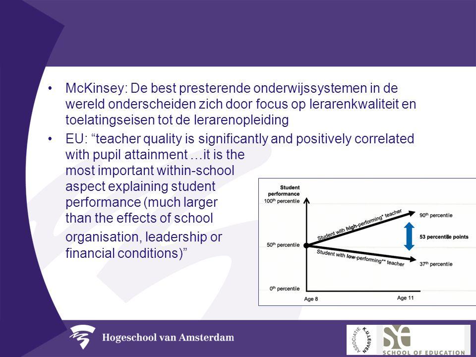 •McKinsey: De best presterende onderwijssystemen in de wereld onderscheiden zich door focus op lerarenkwaliteit en toelatingseisen tot de lerarenoplei