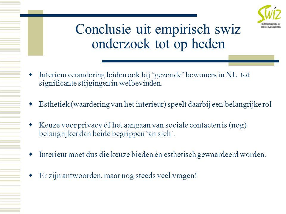 Conclusie uit empirisch swiz onderzoek tot op heden  Interieurverandering leiden ook bij 'gezonde' bewoners in NL. tot significante stijgingen in wel
