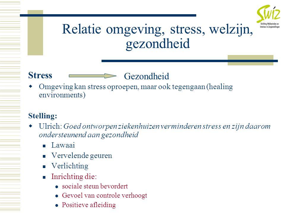Relatie omgeving, stress, welzijn, gezondheid Stress  Omgeving kan stress oproepen, maar ook tegengaan (healing environments) Stelling:  Ulrich: Goe