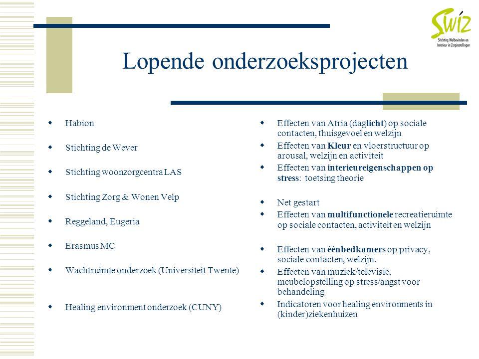 Lopende onderzoeksprojecten  Habion  Stichting de Wever  Stichting woonzorgcentra LAS  Stichting Zorg & Wonen Velp  Reggeland, Eugeria  Erasmus