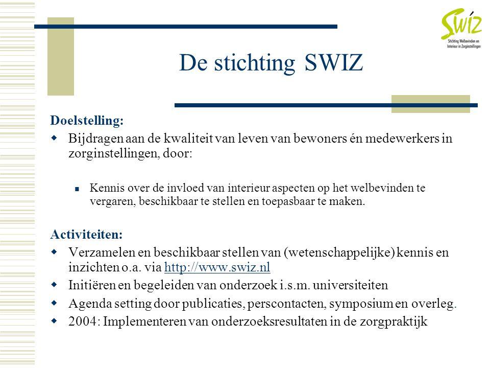 De stichting SWIZ Doelstelling:  Bijdragen aan de kwaliteit van leven van bewoners én medewerkers in zorginstellingen, door:  Kennis over de invloed