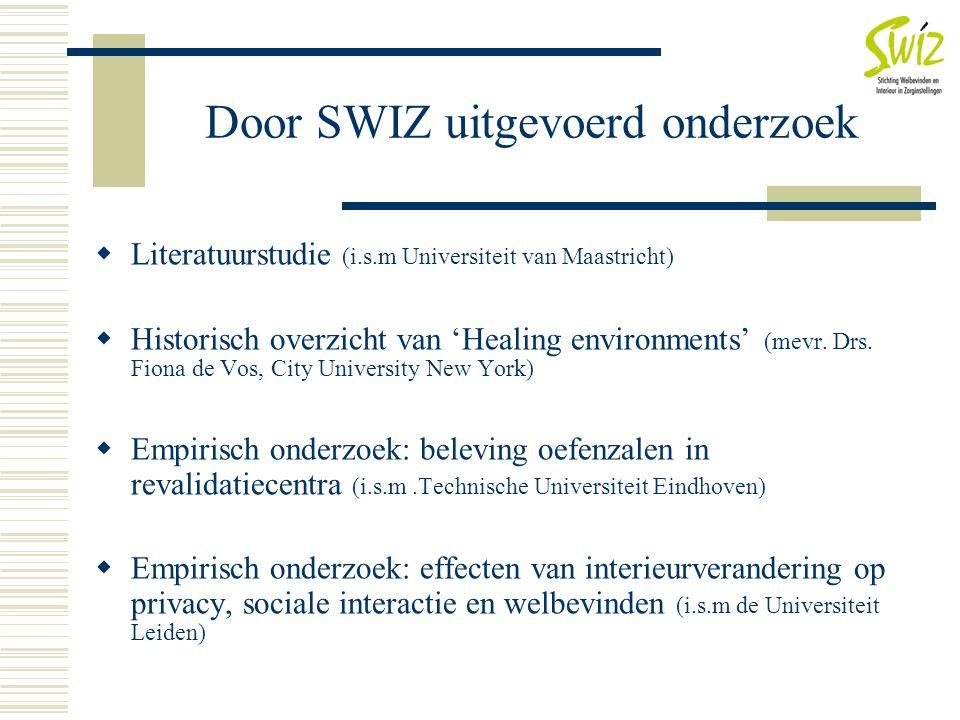 Door SWIZ uitgevoerd onderzoek  Literatuurstudie (i.s.m Universiteit van Maastricht)  Historisch overzicht van 'Healing environments' (mevr. Drs. Fi