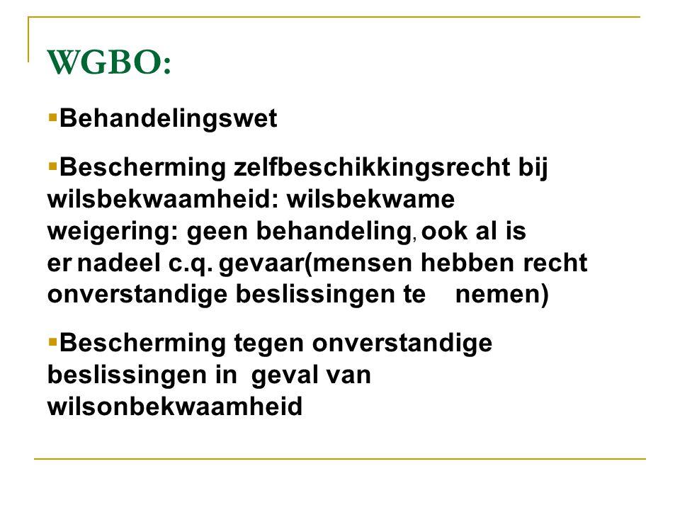 WGBO:  Behandelingswet  Bescherming zelfbeschikkingsrecht bij wilsbekwaamheid: wilsbekwame weigering: geen behandeling, ook al is er nadeel c.q. gev