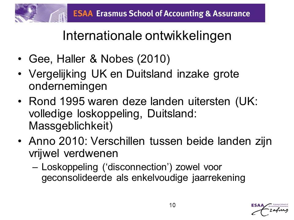 10 Internationale ontwikkelingen •Gee, Haller & Nobes (2010) •Vergelijking UK en Duitsland inzake grote ondernemingen •Rond 1995 waren deze landen uit