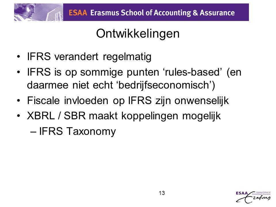 13 Ontwikkelingen •IFRS verandert regelmatig •IFRS is op sommige punten 'rules-based' (en daarmee niet echt 'bedrijfseconomisch') •Fiscale invloeden o