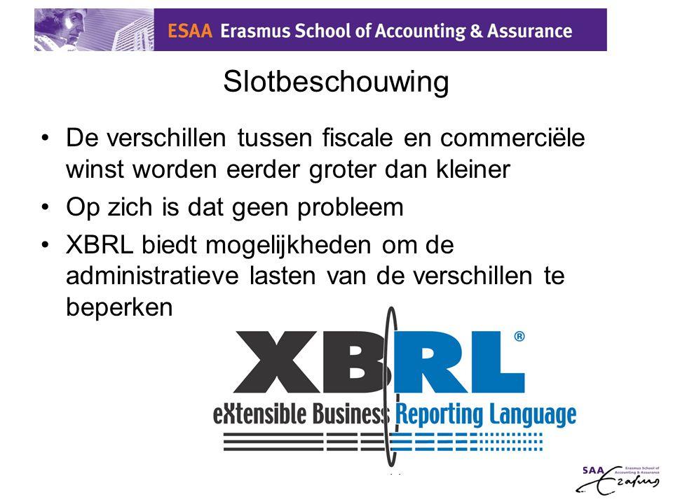 14 Slotbeschouwing •De verschillen tussen fiscale en commerciële winst worden eerder groter dan kleiner •Op zich is dat geen probleem •XBRL biedt moge