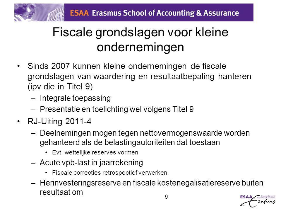 9 Fiscale grondslagen voor kleine ondernemingen •Sinds 2007 kunnen kleine ondernemingen de fiscale grondslagen van waardering en resultaatbepaling han