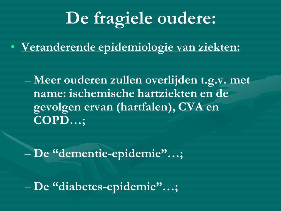 De fragiele oudere: • •Veranderende epidemiologie van ziekten: – –Meer ouderen zullen overlijden t.g.v.