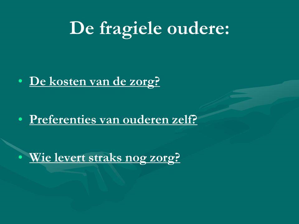 De fragiele oudere: • •De kosten van de zorg.• •Preferenties van ouderen zelf.