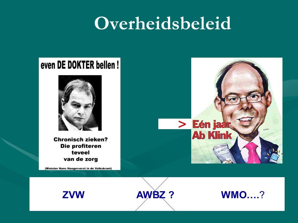 Overheidsbeleid > ZVW AWBZ ? WMO….?
