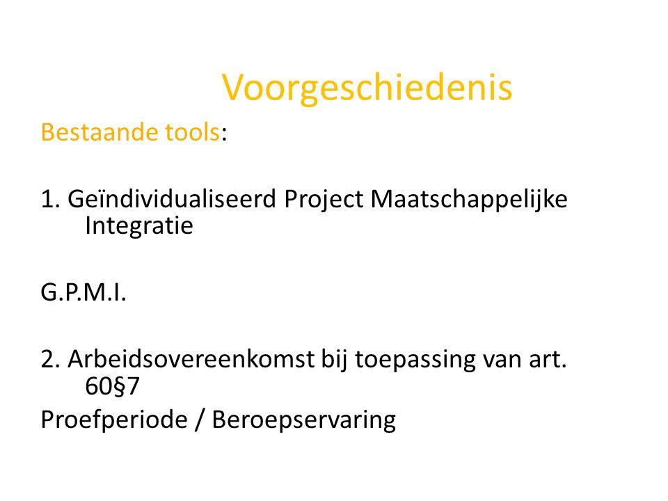 Voorgeschiedenis Bestaande tools: 1. Geïndividualiseerd Project Maatschappelijke Integratie G.P.M.I. 2. Arbeidsovereenkomst bij toepassing van art. 60