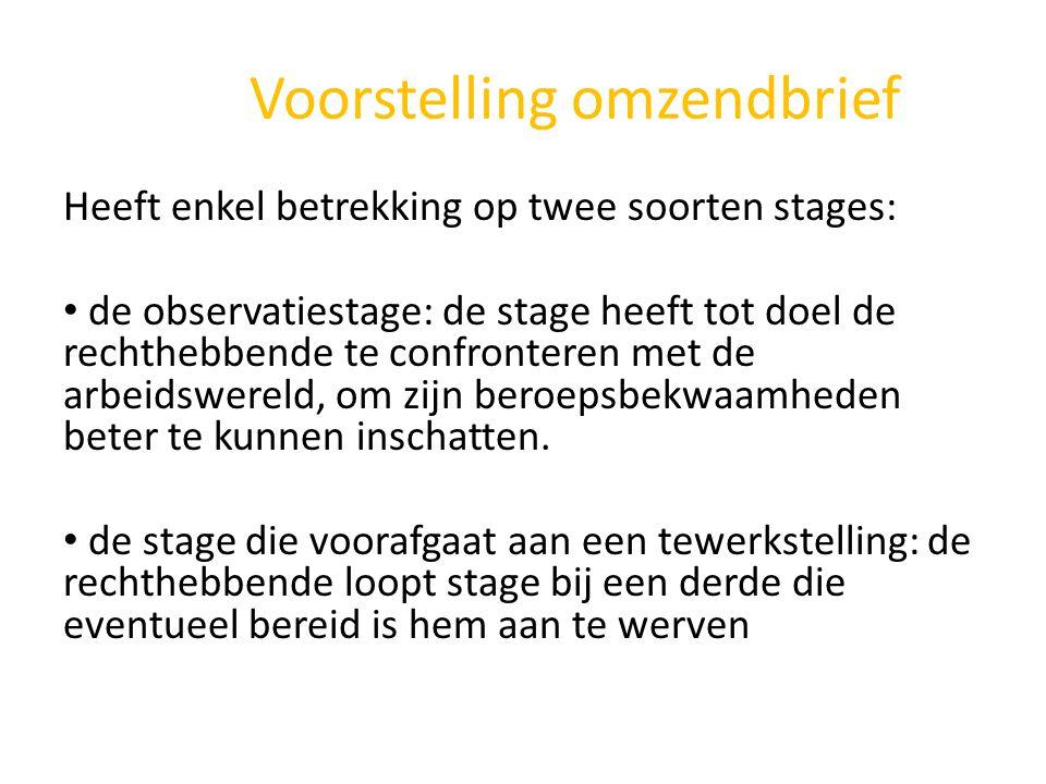 Voorstelling omzendbrief Heeft enkel betrekking op twee soorten stages: • de observatiestage: de stage heeft tot doel de rechthebbende te confronteren