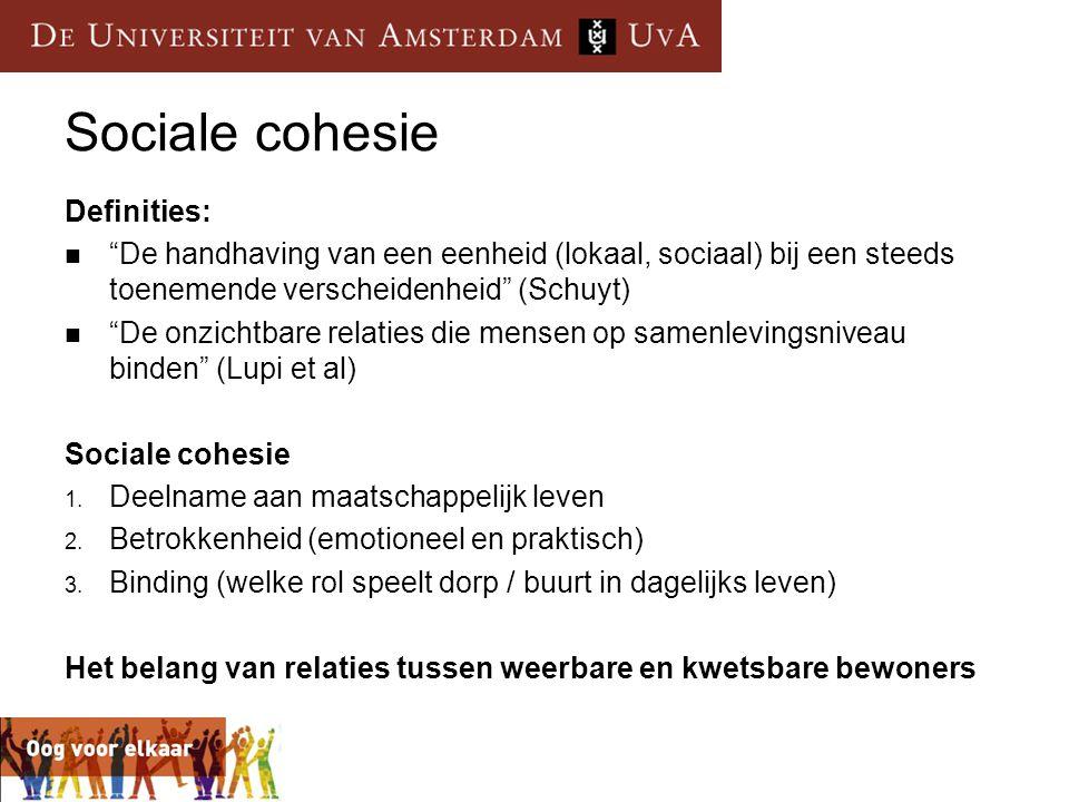 """Sociale cohesie Definities:  """"De handhaving van een eenheid (lokaal, sociaal) bij een steeds toenemende verscheidenheid"""" (Schuyt)  """"De onzichtbare r"""