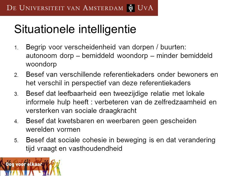 Situationele intelligentie 1. Begrip voor verscheidenheid van dorpen / buurten: autonoom dorp – bemiddeld woondorp – minder bemiddeld woondorp 2. Bese