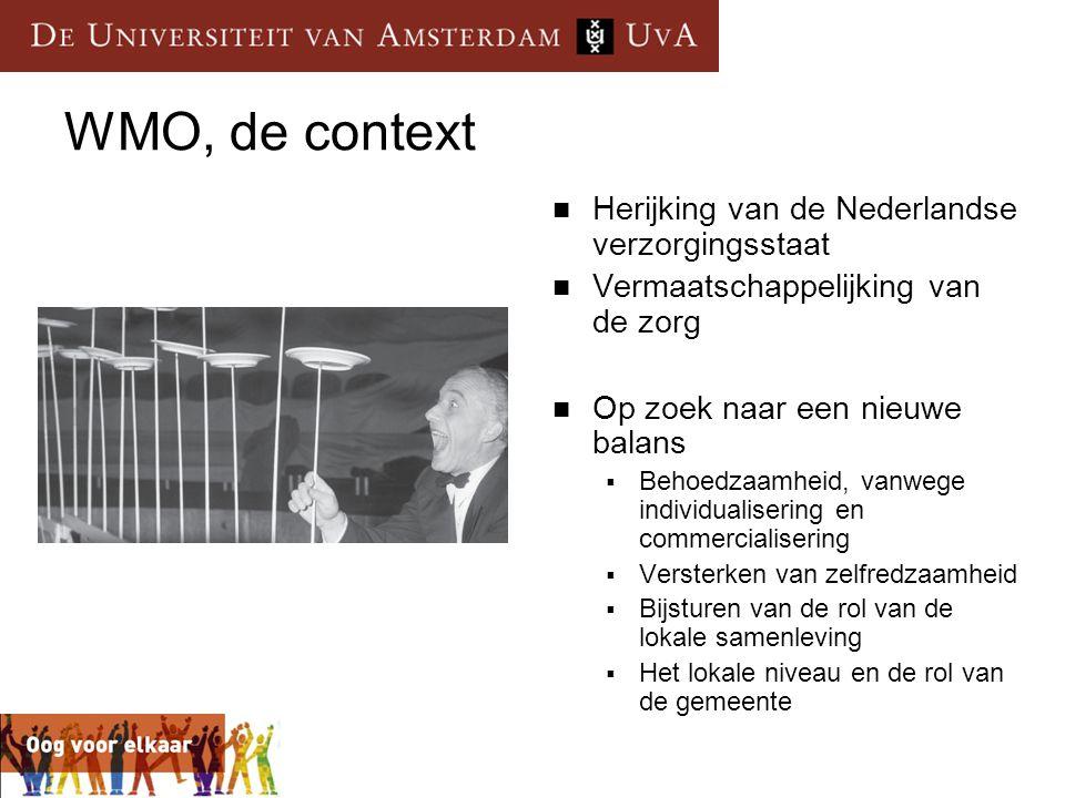 WMO, de context  Herijking van de Nederlandse verzorgingsstaat  Vermaatschappelijking van de zorg  Op zoek naar een nieuwe balans  Behoedzaamheid,