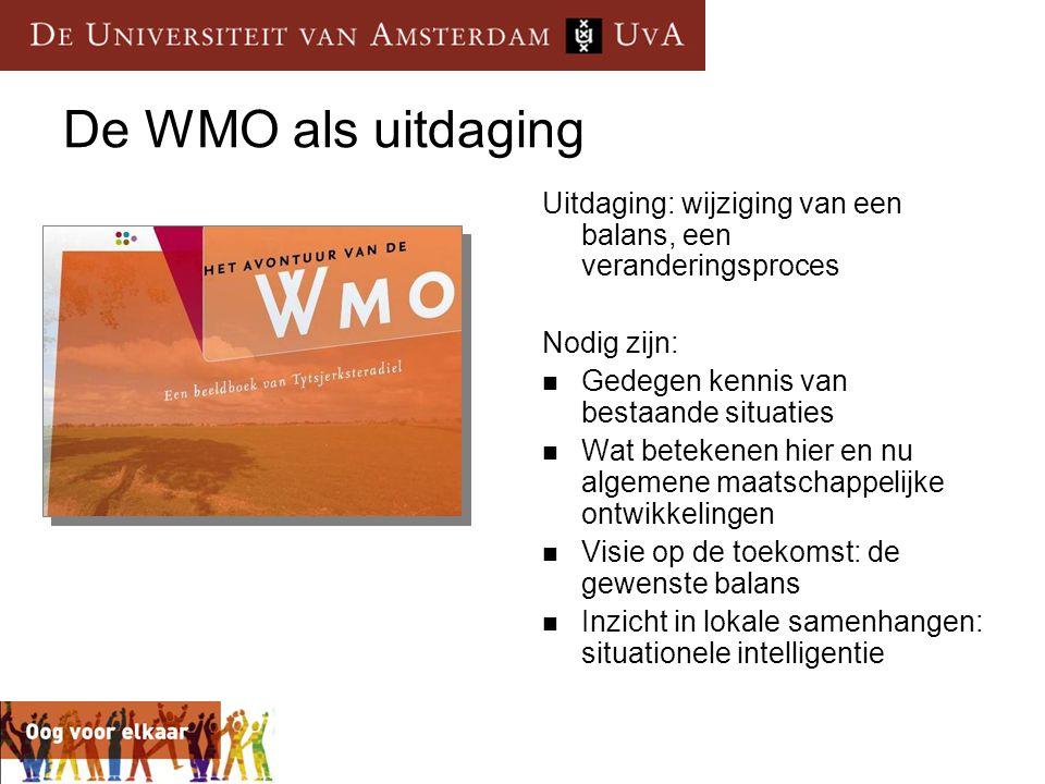 De WMO als uitdaging Uitdaging: wijziging van een balans, een veranderingsproces Nodig zijn:  Gedegen kennis van bestaande situaties  Wat betekenen