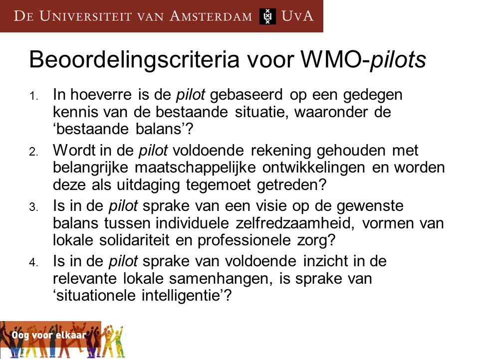 Beoordelingscriteria voor WMO-pilots 1. In hoeverre is de pilot gebaseerd op een gedegen kennis van de bestaande situatie, waaronder de 'bestaande bal