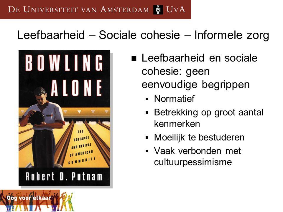  Leefbaarheid en sociale cohesie: geen eenvoudige begrippen  Normatief  Betrekking op groot aantal kenmerken  Moeilijk te bestuderen  Vaak verbon