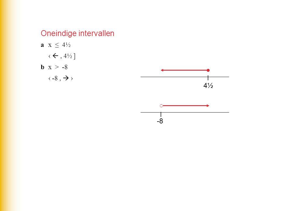 4½4½ l ○ ● ax ≤ 4½ ‹ , 4½ ] bx > -8 ‹ -8,  › -8 l Oneindige intervallen