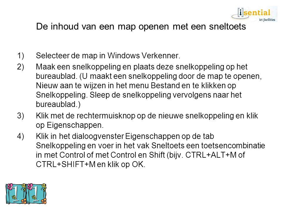 De inhoud van een map openen met een sneltoets 1)Selecteer de map in Windows Verkenner. 2)Maak een snelkoppeling en plaats deze snelkoppeling op het b
