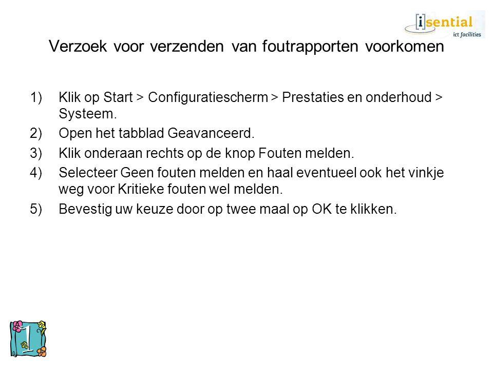 Verzoek voor verzenden van foutrapporten voorkomen 1)Klik op Start > Configuratiescherm > Prestaties en onderhoud > Systeem. 2)Open het tabblad Geavan