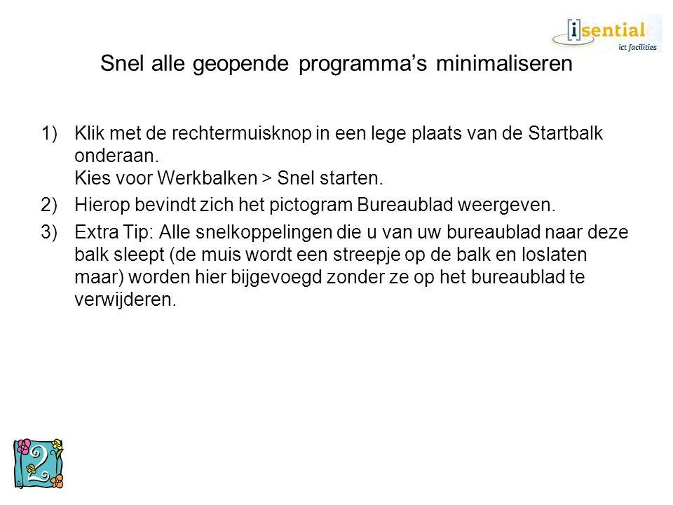 Systeemherstel gebruiken 1)Klik op Start > Alle programma's > Bureau accessoires > Systeemwerkset > Systeemherstel.