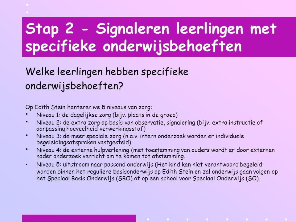 Stap 2 - Signaleren leerlingen met specifieke onderwijsbehoeften Welke leerlingen hebben specifieke onderwijsbehoeften? Op Edith Stein hanteren we 5 n
