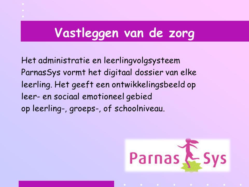 Vastleggen van de zorg Het administratie en leerlingvolgsysteem ParnasSys vormt het digitaal dossier van elke leerling. Het geeft een ontwikkelingsbee