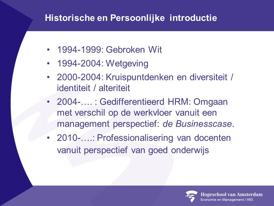 Historische en Persoonlijke introductie •1994-1999: Gebroken Wit •1994-2004: Wetgeving •2000-2004: Kruispuntdenken en diversiteit / identiteit / alter