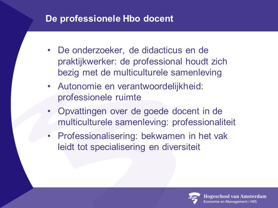 De professionele Hbo docent •De onderzoeker, de didacticus en de praktijkwerker: de professional houdt zich bezig met de multiculturele samenleving •A