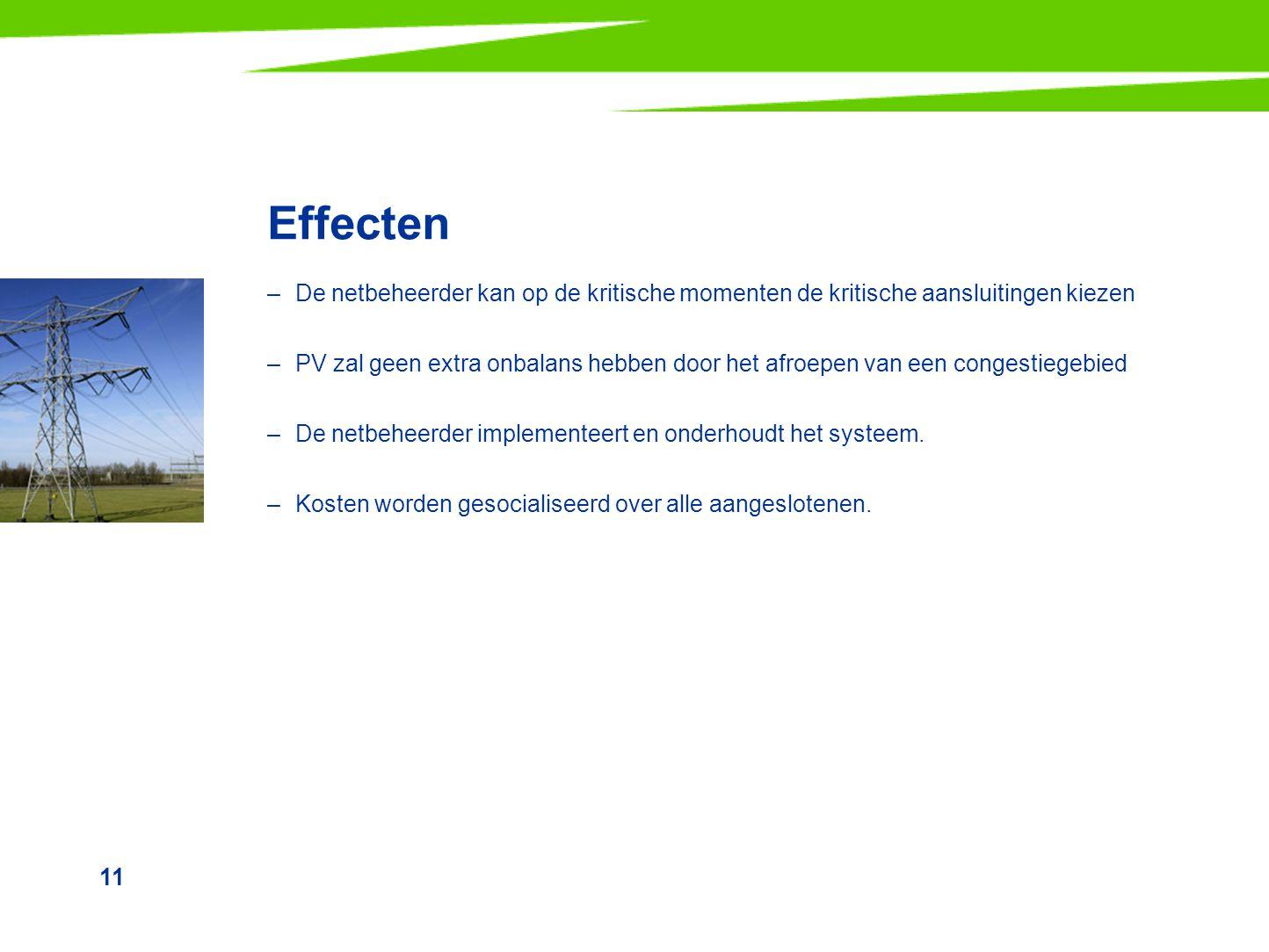 11 Effecten –De netbeheerder kan op de kritische momenten de kritische aansluitingen kiezen –PV zal geen extra onbalans hebben door het afroepen van e