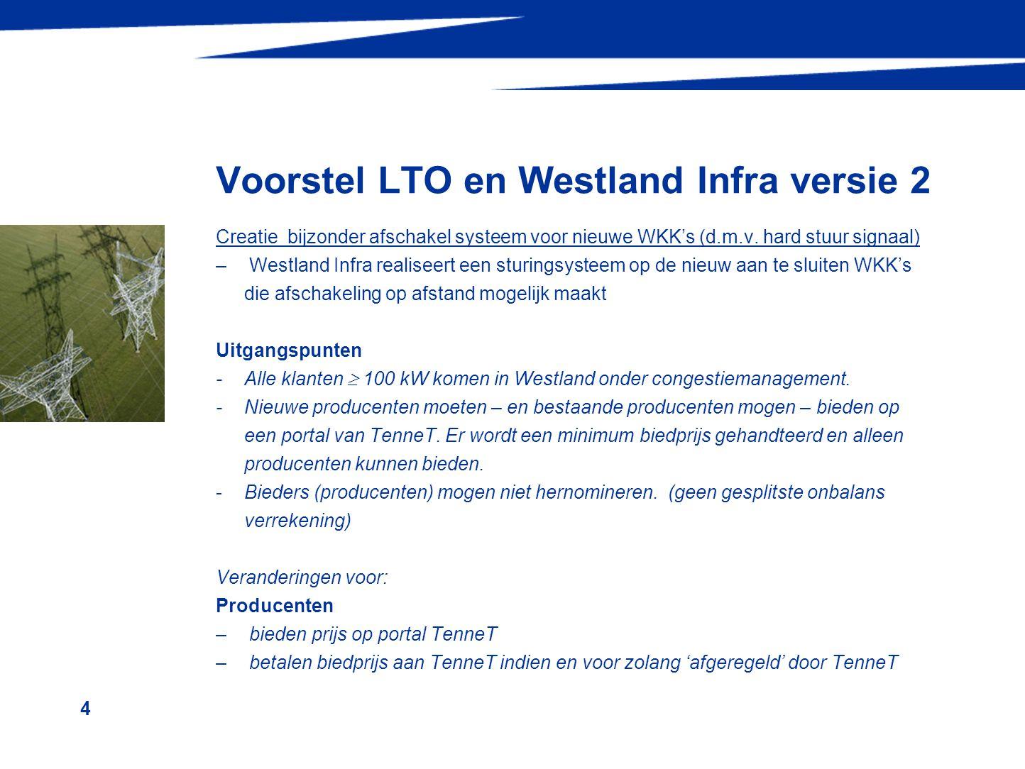 5 Voorstel LTO en Westland Infra versie 2 Veranderingen voor: PV partij -stuurt deel – E-programma congestiegebied naar TenneT (Westland) -laten geen hernomatie toe door bieders (dit in verband met tegengaan gaming) TenneT –ontvangt critirium 1 (maximale belasting N-1) van Westland Infra ontvangt deel –E-programma van PV-partijen in congestiemanagementgebied –ontvangt biedingen (op EAN-code) van producenten –selecteert, bij overschrijding van C1, producenten uit biedingslijst en stuurt bericht 'afregelen' naar geselecteerde producten –verzorgt redispatch, separeert en alloceert congestiemanagementkosten Westland Infra –stelt criterium 1 vast –'verhoogt' de meetwaarden van de afgeregelde producenten voordat deze het proces ingaan (verhoging met afgesproken 'afregelvolume' zodat, als producent toch geproduceerd heeft, sprake is van onbalans).