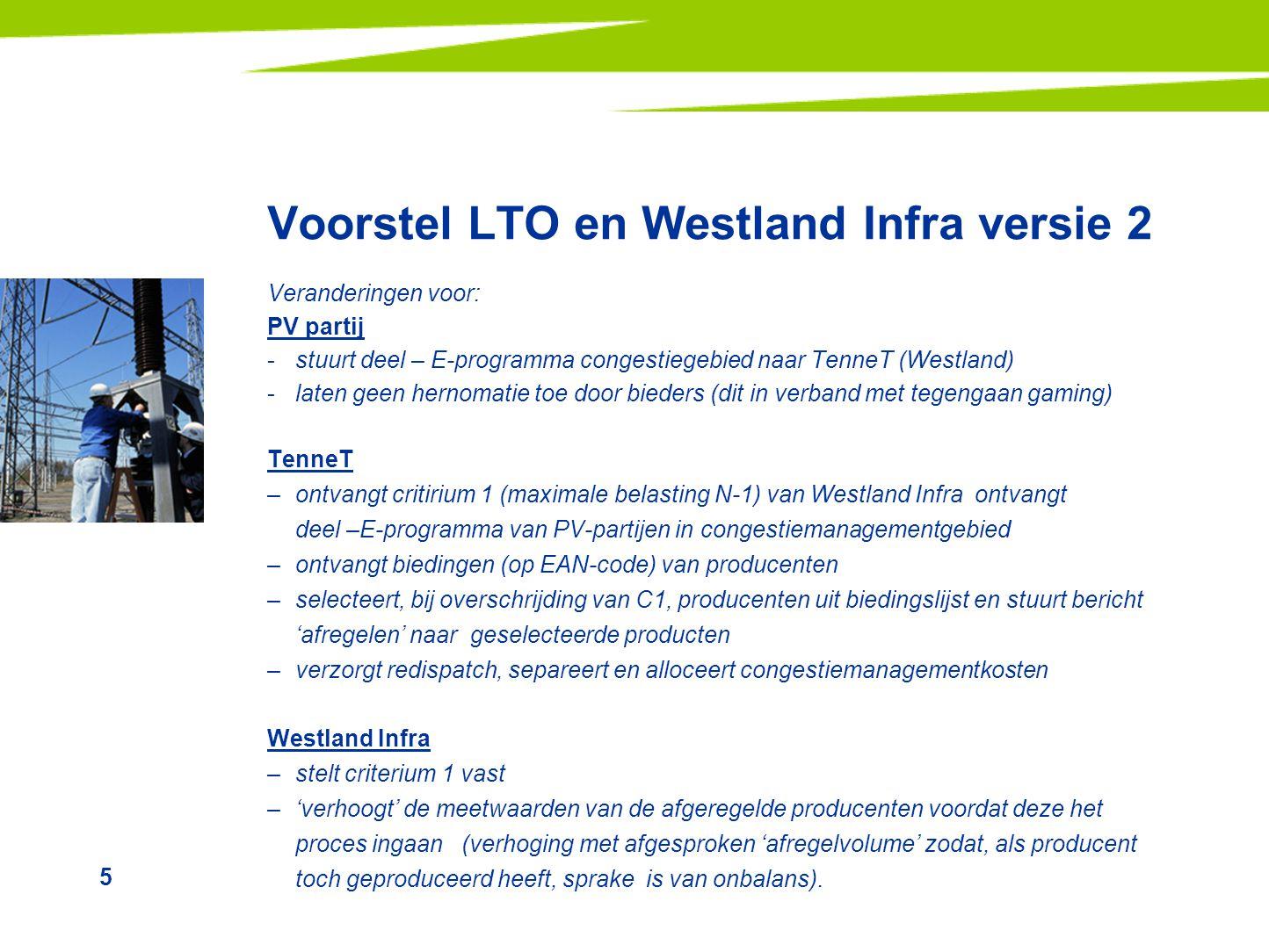 5 Voorstel LTO en Westland Infra versie 2 Veranderingen voor: PV partij -stuurt deel – E-programma congestiegebied naar TenneT (Westland) -laten geen