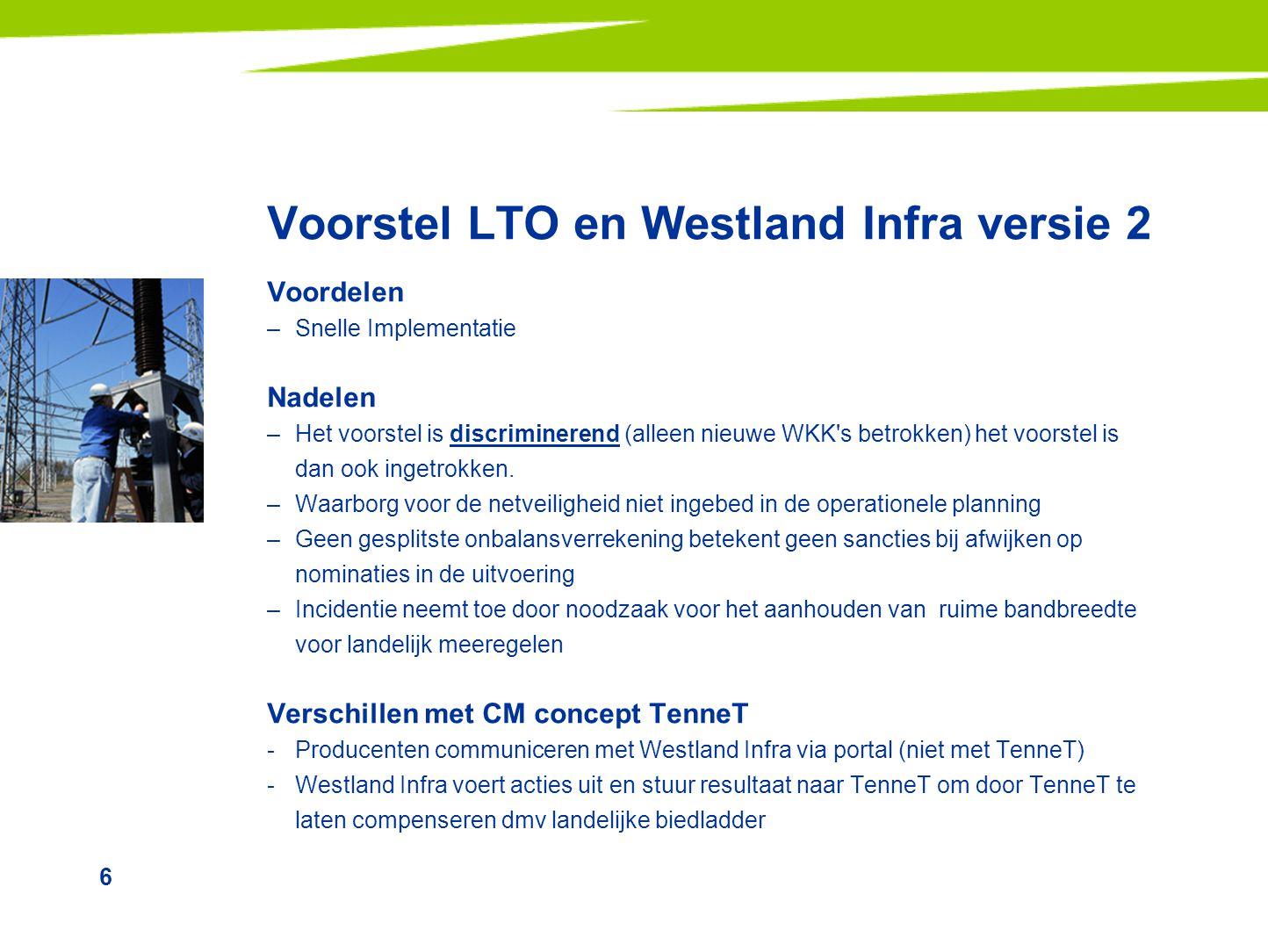 6 Voorstel LTO en Westland Infra versie 2 Voordelen –Snelle Implementatie Nadelen –Het voorstel is discriminerend (alleen nieuwe WKK's betrokken) het