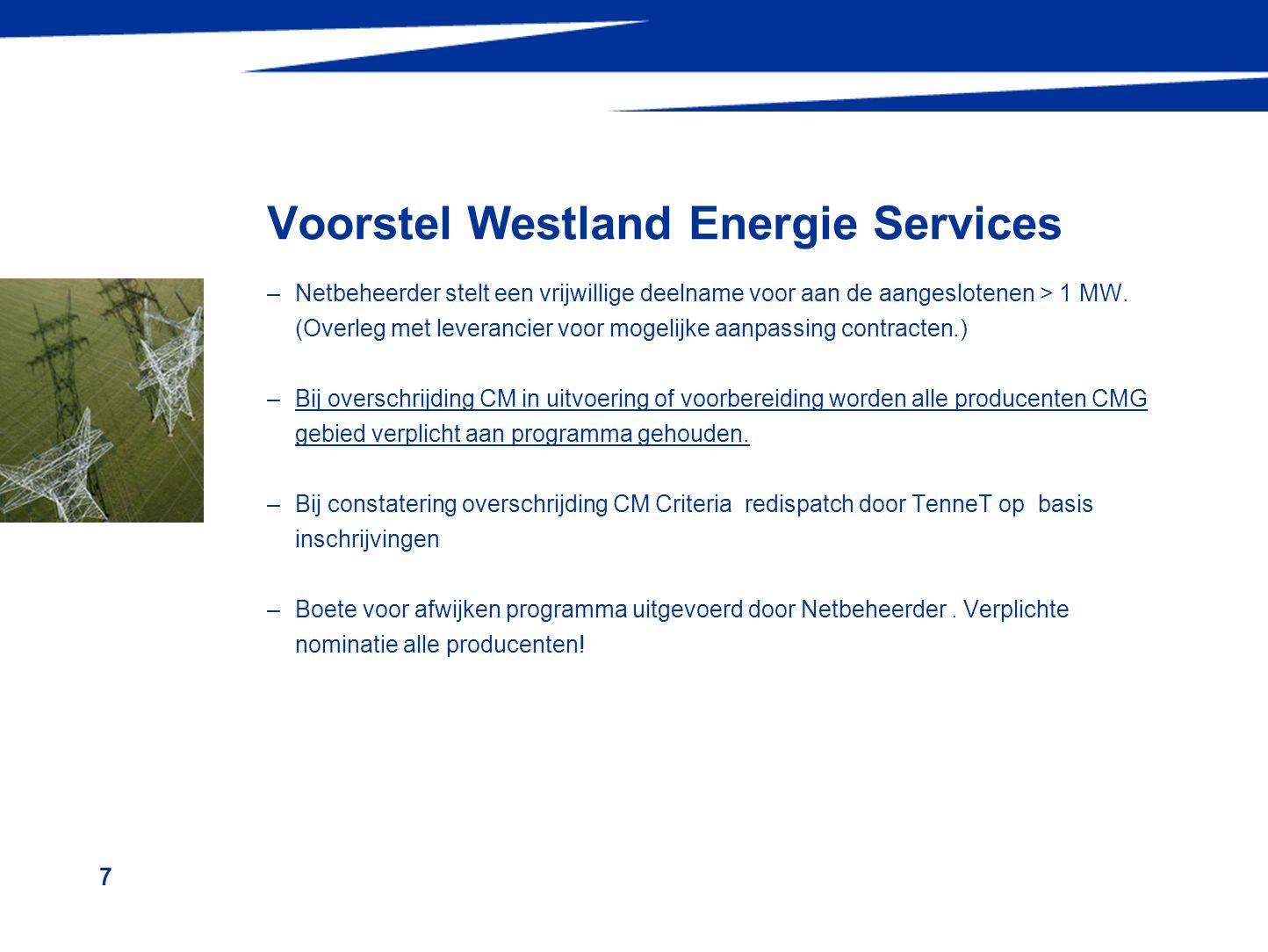 8 Westland Energie Services Procedure De netbeheerder bepaalt of en waar congestie optreedt en selecteert een aantal aansluitingen welke niet mogen produceren en gedurende welke PTE's.