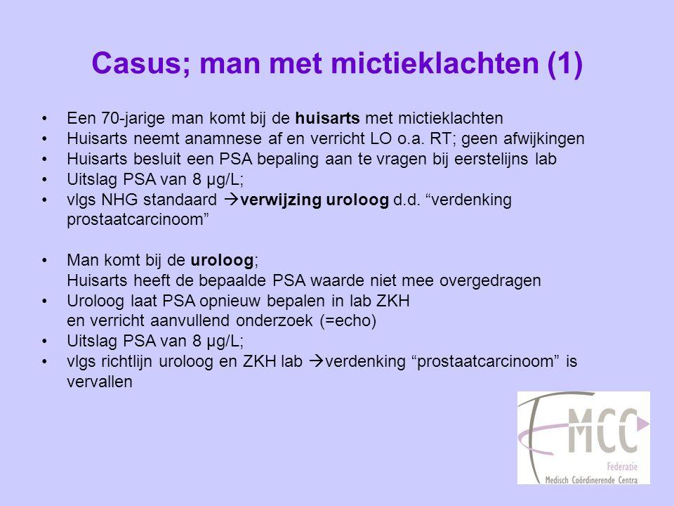 Casus; man met mictieklachten (2) •Herkennen jullie deze situatie.