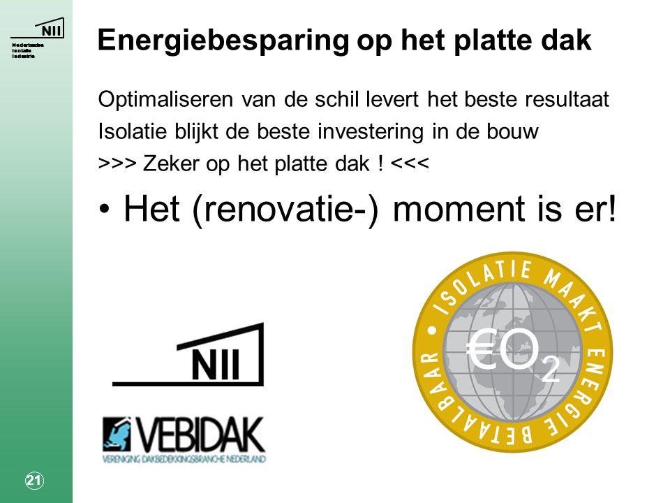 NII Nederlandse Isolatie Industrie 21 Energiebesparing op het platte dak Optimaliseren van de schil levert het beste resultaat Isolatie blijkt de beste investering in de bouw >>> Zeker op het platte dak .