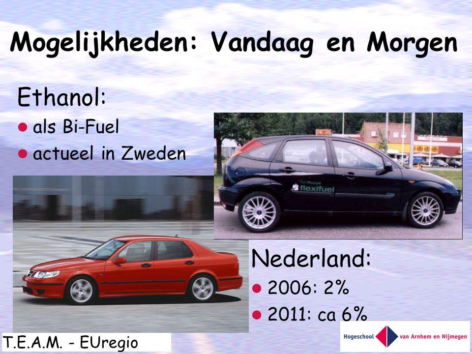 T.E.A.M. - EUregio Ethanol:  als Bi-Fuel  actueel in Zweden Mogelijkheden: Vandaag en Morgen Nederland:  2006: 2%  2011: ca 6%