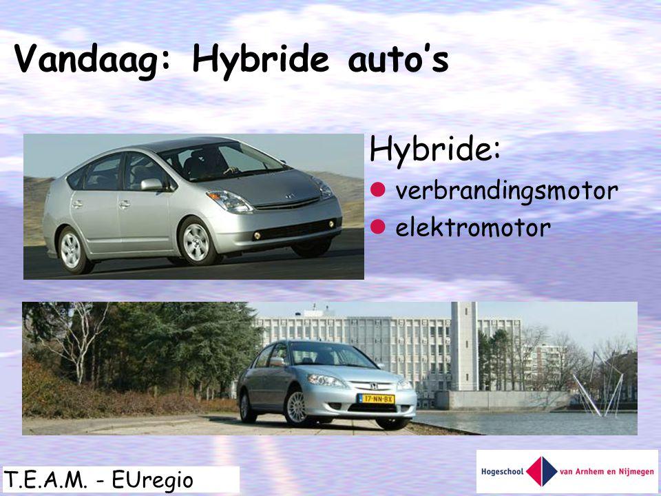 T.E.A.M. - EUregio Hybride:  verbrandingsmotor  elektromotor Vandaag: Hybride auto's