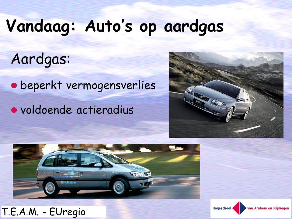 T.E.A.M. - EUregio Aardgas:  beperkt vermogensverlies  voldoende actieradius Vandaag: Auto's op aardgas