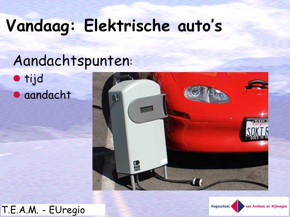 T.E.A.M. - EUregio Aandachtspunten :  tijd  aandacht Vandaag: Elektrische auto's