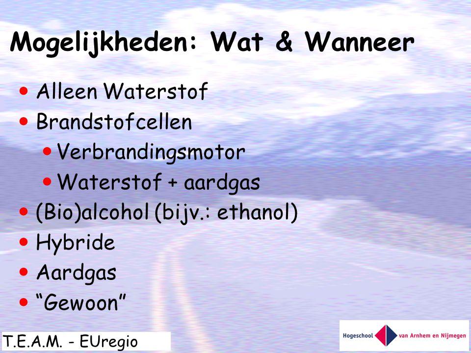 T.E.A.M. - EUregio  Alleen Waterstof  Brandstofcellen  Verbrandingsmotor  Waterstof + aardgas  (Bio)alcohol (bijv.: ethanol)  Hybride  Aardgas