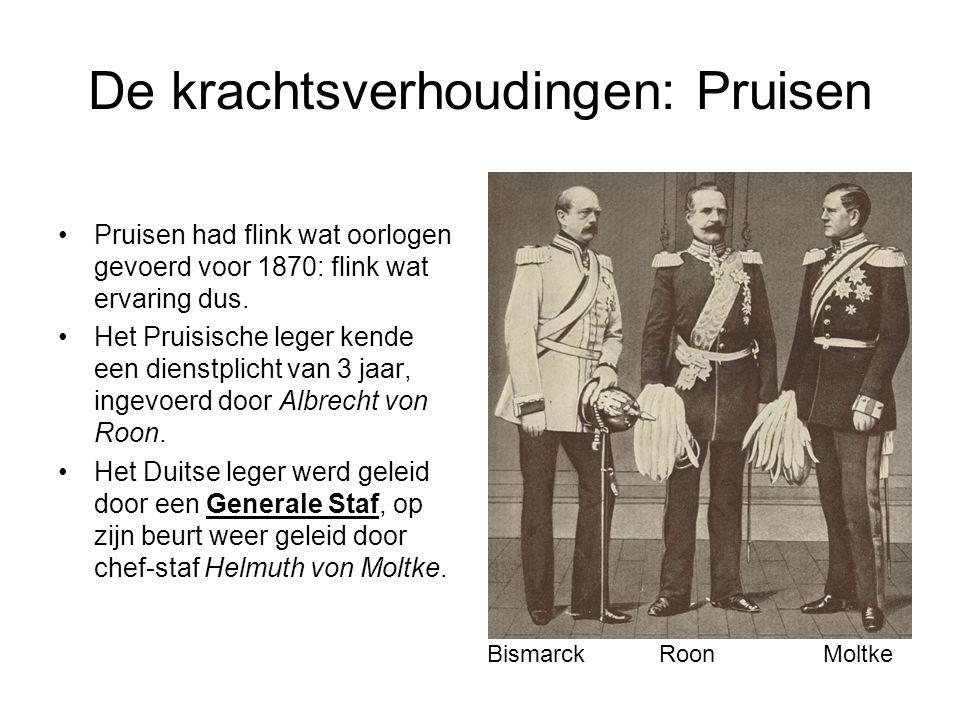 De krachtsverhoudingen: Pruisen •Pruisen had flink wat oorlogen gevoerd voor 1870: flink wat ervaring dus. •Het Pruisische leger kende een dienstplich