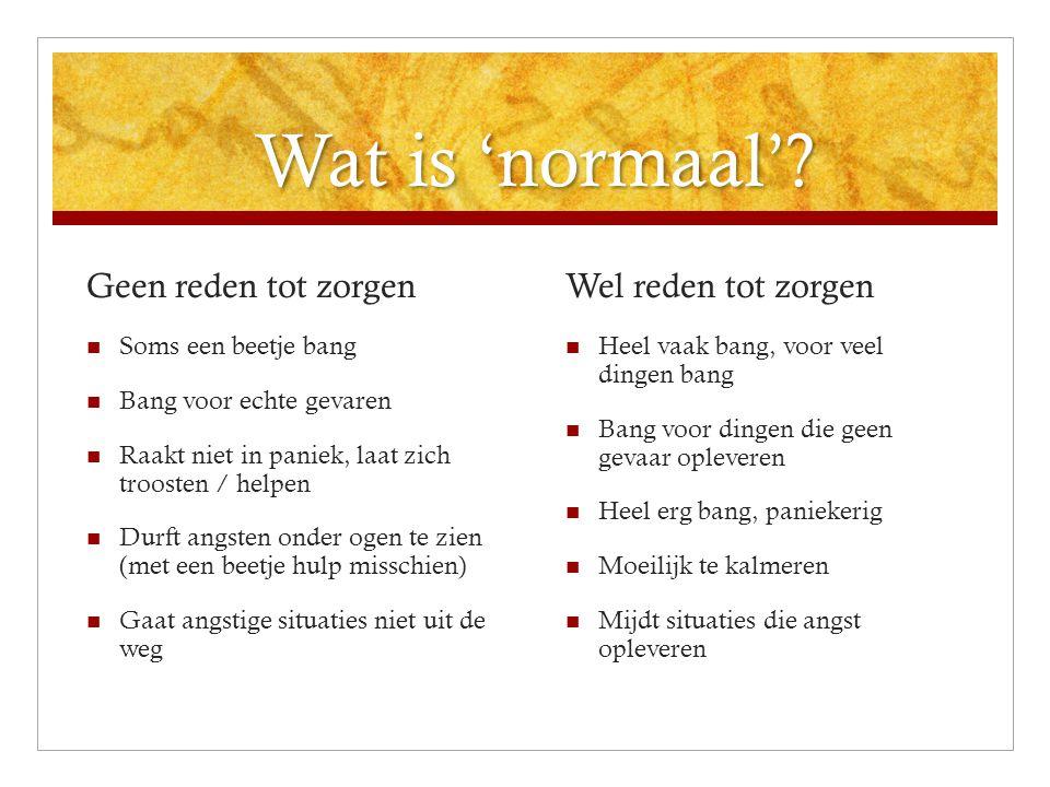 Wat is 'normaal'? Wat is 'normaal'? Geen reden tot zorgen  Soms een beetje bang  Bang voor echte gevaren  Raakt niet in paniek, laat zich troosten