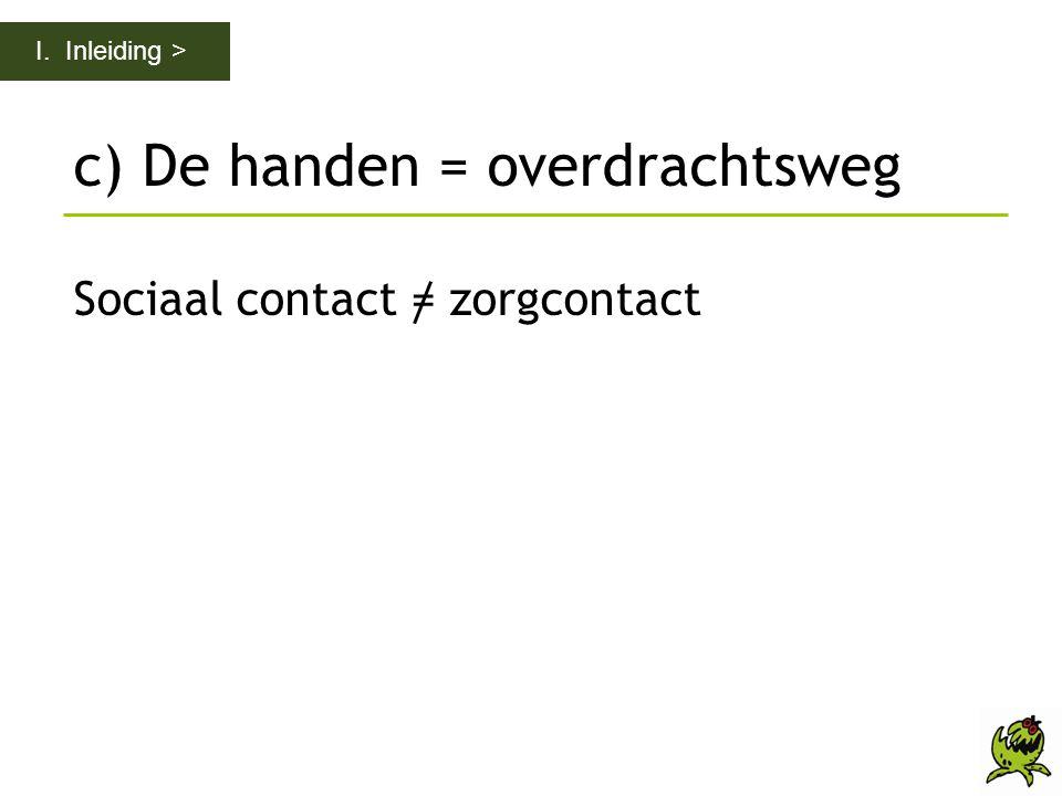 c) De handen = overdrachtsweg Sociaal contact = zorgcontact I. Inleiding >