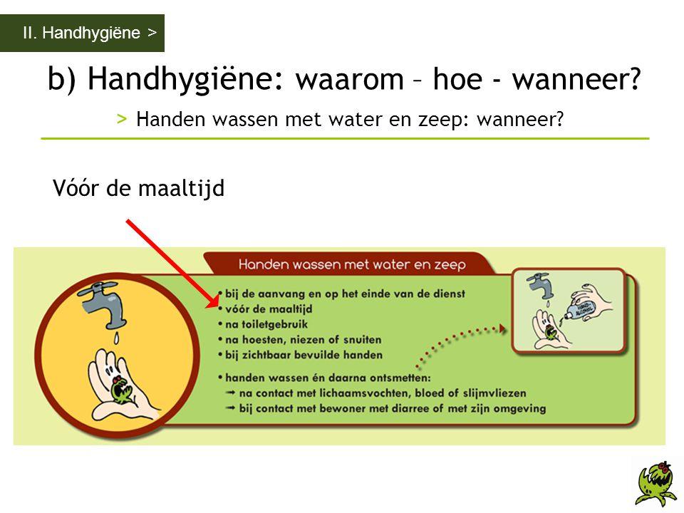 b) Handhygiëne: waarom – hoe - wanneer? > Handen wassen met water en zeep: wanneer? II. Handhygiëne > Vóór de maaltijd